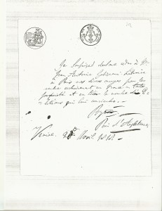 The letter attesting that Lord Byron was giving all his rights to publish to Galignani for France without any limitation dated April 20, 1818.