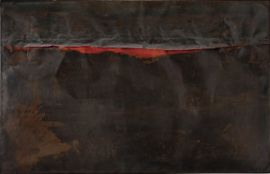 Alberto Burri Ferro SP (Iron SP), 1961 Welded iron sheet metal, oil, and tacks on wood framework, 130 x 200 cm Galleria nazionale d'arte moderna e contemporanea, Rome © Fondazione Palazzo Albizzini Collezione Burri, Città di Castello/2015 Artists Rights Society (ARS), New York/SIAE, Rome Photo: Antonio Idini, Soprintendenza alla Galleria nazionale d'arte moderna e contemporanea, courtesy Ministero per i Beni e le Attività Culturali e del Turismo
