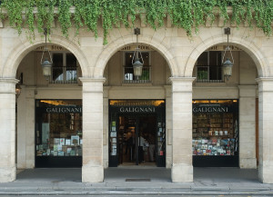 Galignani booksellers, established 224 rue de Rivoli , Paris 1er, since 1856. The first English bookseller on the Continent.