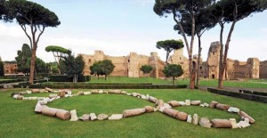Permanent sculpture of Michelangelo Pistoletto's 'Rebirth-Third Paradise' (2013) at the Baths of Caracalla in Rome and made from stone archaeological fragments.