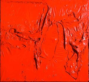 Alberto Burri Rosso plastica (Red Plastic), 1961 Plastic (PVC), acrylic, and combustion on plastic (PE) and black fabric, 142 x 153 cm Modern Art Foundation © Fondazione Palazzo Albizzini Collezione Burri, Città di Castello/2015 Artist Rights Society (ARS), New York/SIAE, Rome Photo: Massimo Napoli, Rome, courtesy Modern Art Foundation