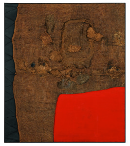 Alberto Burri Sacco e rosso (Sack and Red), ca. 1959 Burlap, thread, acrylic, and PVA on black fabric, 150 x 130 cm Private collection, London © Fondazione Palazzo Albizzini Collezione Burri, Città di Castello/2015 Artist Rights Society (ARS), New York/SIAE, Rome Photo: Lucy Dawkins, London