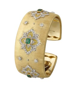 - 18ct yellow and white gold, diamond, yellow diamond and emerald Opera cuff by Buccellati - POA