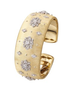 18ct yellow and white gold and diamond Opera cuff by Buccellati.
