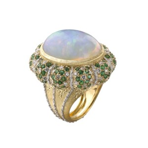 8ct yellow and white gold, diamond, emerald and opal High Jewellery cocktail ring by Buccellati.