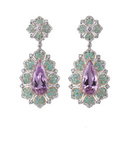 18ct yellow and white gold, diamond, tourmaline and kunzite High Jewellery cocktail earrings by Buccellati.