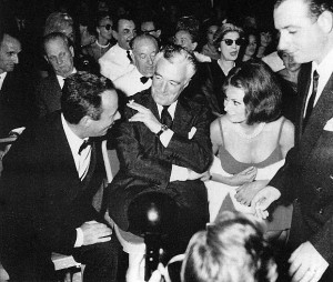Giorgio Bassani with Vittorio De Sica and Sophia Loren