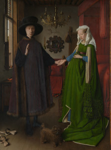 Jan van Eyck active 1422; died 1441 Portrait of Giovanni(?) Arnolfini and his Wife Short title: The Arnolfini Portrait 1434  (c) National Gallery, London