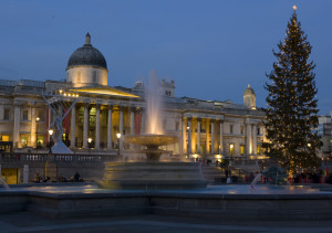 The National Gallery in London's festive Trafalgar Square, December 2015