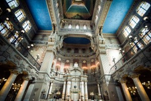 Interior of the Great Synagogue of Rome.