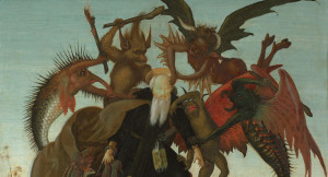 Michelangelo Buonarroti, The Torment of Saint Anthony (detail), c. 1487–88, tempera and oil on panel. Kimbell Art Museum