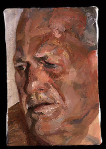 "Lucian Freud, ""John Richardson,"" 1998 Oil on canvas, 6 1/4 x 4 1/2 inches"
