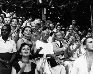 Picasso with Jean Cocteau at a Bullfight --- August 1955, France --- Image by © Vittoriano Rastelli/Corbis