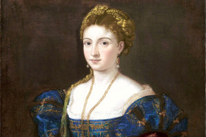 "Titian (Tiziano Vecellio), Woman in a Blue Dress (""La Bella""), detail, 1536, oil on canvas. Galleria Palatina, Palazzo Pitti, Florence"