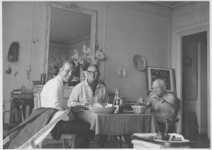 A picture (LtoR) of John Richardson, Douglas Cooper,Picasso taken by Jacqueline Roque/Picasso in 1959.