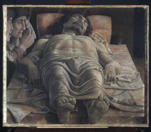 Andrea Mantegna Cristo morto nel sepolcro e tre dolenti 1470-1474 tempera su tela cm 68 × 81