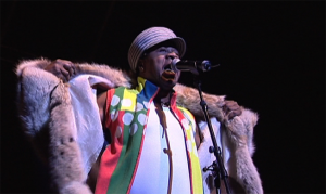 A still from the documentary showing Papa Wemba playing a concert in Paris (Courtesy of NYAFF)