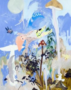 Tomoko Nagai, Borne on the Cold Air, 2009. Oil, acrylic and glitter on canvas. Collection of Jean Pigozzi, Geneva