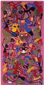 George Dinyama Lilanga, They are celebrating New Year, 1996, Enamel on Canvas. Collection of Jean Pigozzi, Geneva