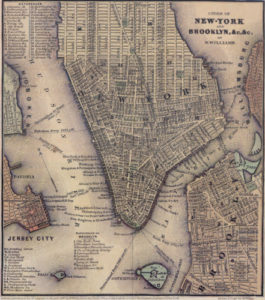 1847 map showing the street layout and ferry routes for lower Manhattan.
