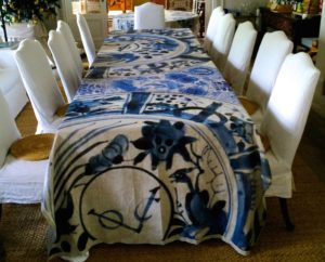 VOC cobalt blue printed Belgian stone linen table cloth designed by Debby Tenquist. Textile line launched by Botanica Trading 2016 Photograph Debby Tenquist Copyright Debby Tenquist.