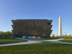 North side of Museum. Smithsonian Institution, National Museum of African American History and Culture. Photo: Alan Karchmer