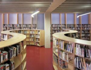 Curved book shelves. Photo: Edmund Sumner