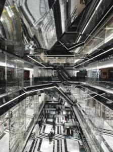 Escalators in atrium. Aishti Foundation. Photo: Guillaume Zicarelli