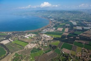 Green fields along the Sea of Galilee
