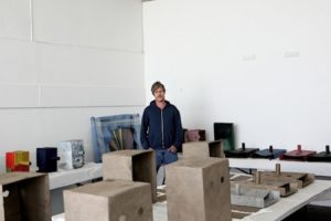 Mark Grotjahn with cardboard