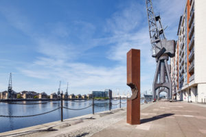 James Balmforth Inhibition Point, 2015 Corten steel and stainless steel Installed on the The Line, courtesy of the artist