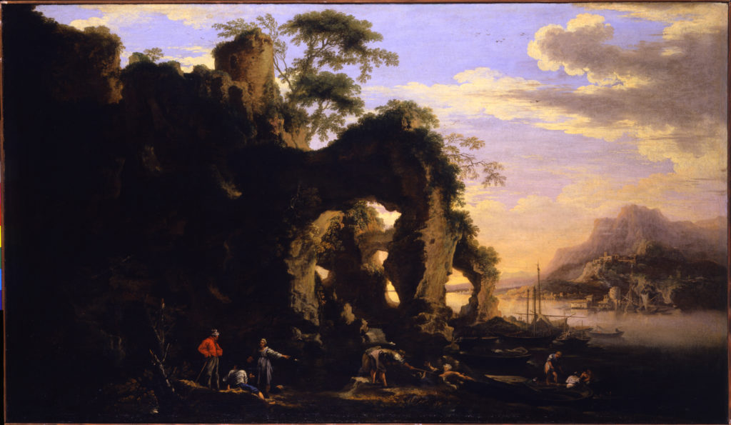 Salvator Rosa – Costal Landscape at Sunset, oil on canvas, 76 x 132 cm. Collection of Marco and Simona Voena.